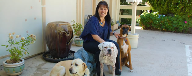 Dr Jyl with 3 dogs